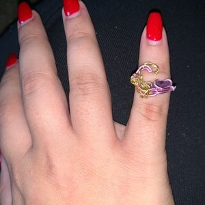 Amethyst Wave Midi Ring